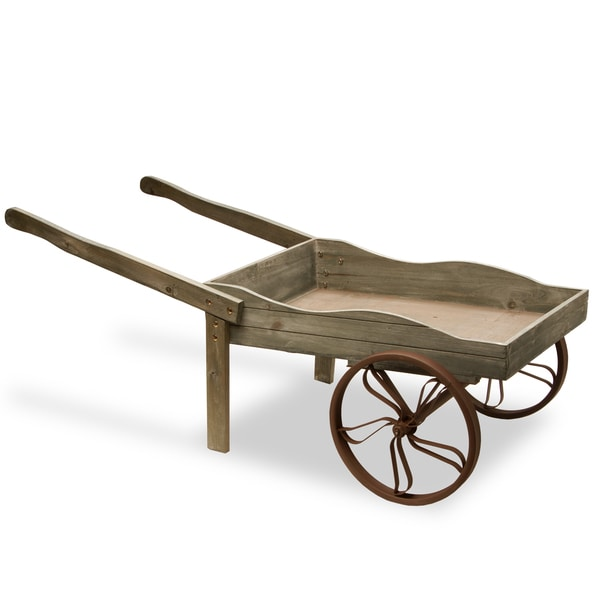 43-inch Light Grey Wooden Garden Cart