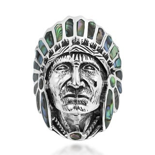Native American Indian Chief Head .925 Silver Ring (Thailand)