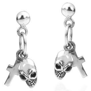 Dual Forces Cross and Skull .925 Sliver Post Earrings (Thailand)