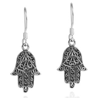 Swirl Accents Hamsa Hand Sterling Silver Earrings (Thailand)