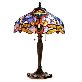 Chloe Tiffany Style Victorian/ Dragonfly Design 2-light Dark Bronze Table Lamp