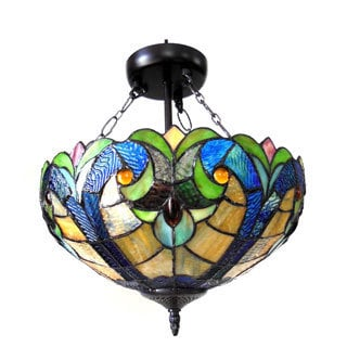 Chloe Lighting Tiffany Style Victorian 2-light Dark Bronze Semi Flush Mount