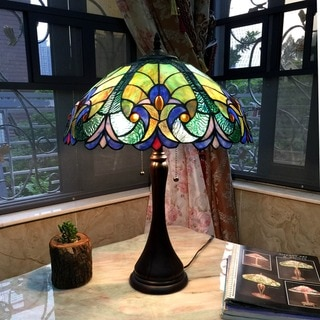 Tiffany Style Victorian Design 2-light Dark Bronze Table Lamp