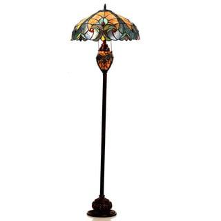 Chloe Tiffany Style Victorian Design 3-light Dark Bronze Floor Lamp