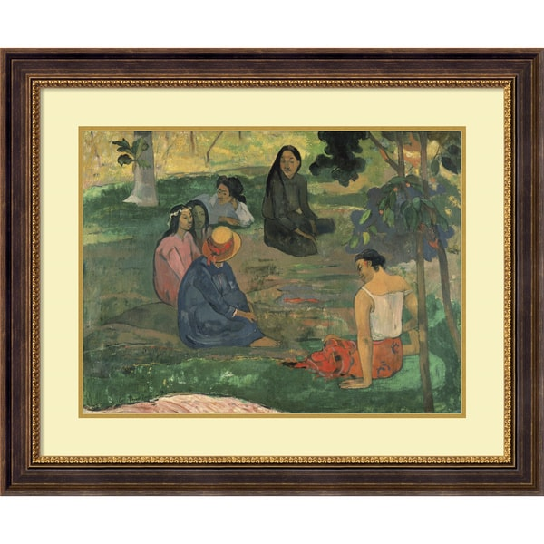 Paul Gauguin 'The Talk, 1891' Framed Art Print 35 x 29-inch