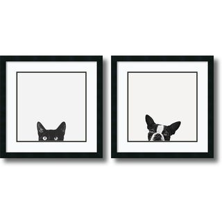 Jon Bertelli 'Curiosity and Loyalty- set of 2' Framed Art Print 22 x 22-inch Each