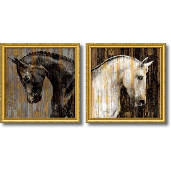 Martin Rose 'Horse- set of 2' Framed Art Print 30 x 30-inch Each