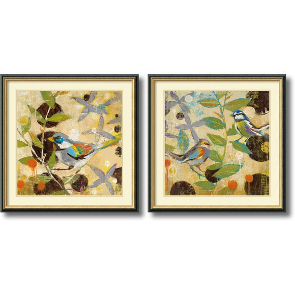 Liz Jardine 'Flew the Coop- set of 2' Framed Art Print 32 x 32-inch Each