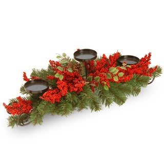 30-inch Vine Three-Candle Holder with Red Berries and Cone