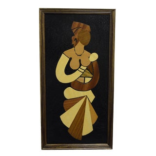Hand-created Wood Overlay 'Mother and Child - My Love Grows' Wall Art (Ghana)