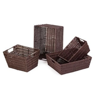 Brown Storage Woven Baskets (Set of 4)