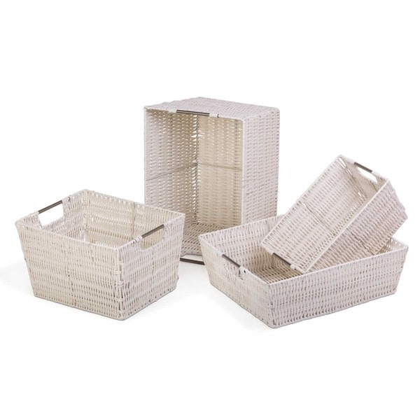 White Storage Woven Baskets (Set of 4)