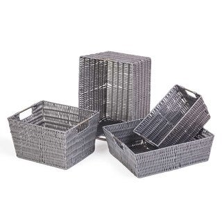 Storage Woven Baskets Set of 4, Gray