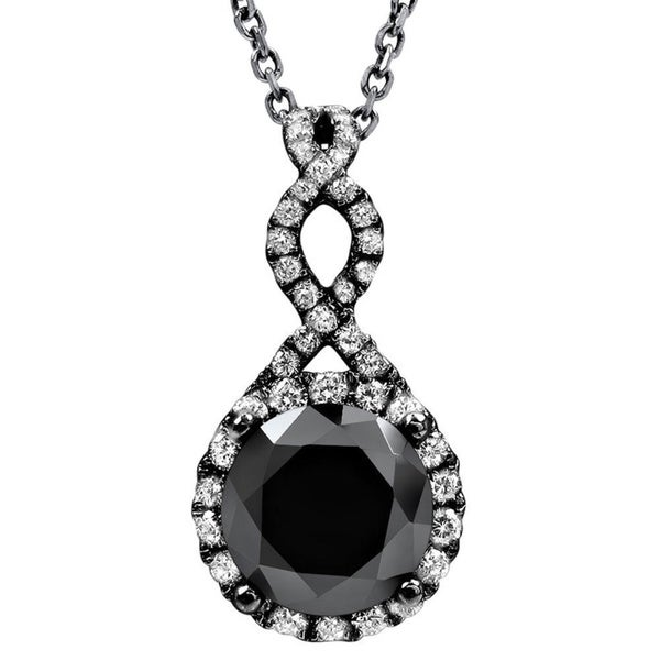Noori 14k Black Gold 2 1/5ct TDW Black Diamond Infinity Knot Necklace (Black, VVS1-VVS2)