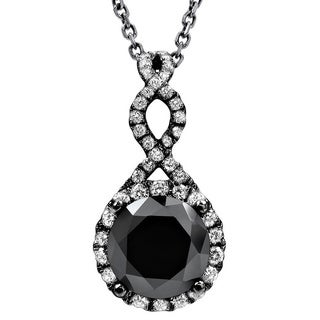 Noori 14k Black Gold 2 1/5ct TDW Black Diamond Infinity Knot Necklace