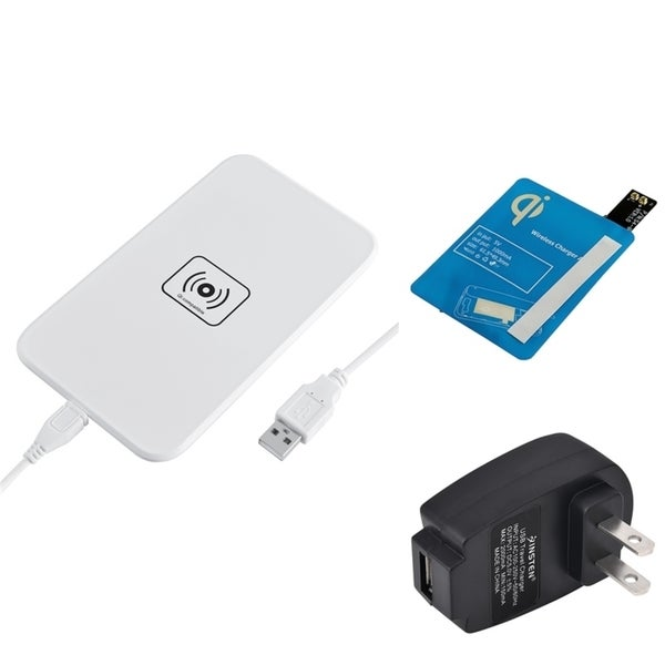 Insten Qi White Wireless Power Charger Charging Pad With Receiver for Samsung Galaxy S4 i9500