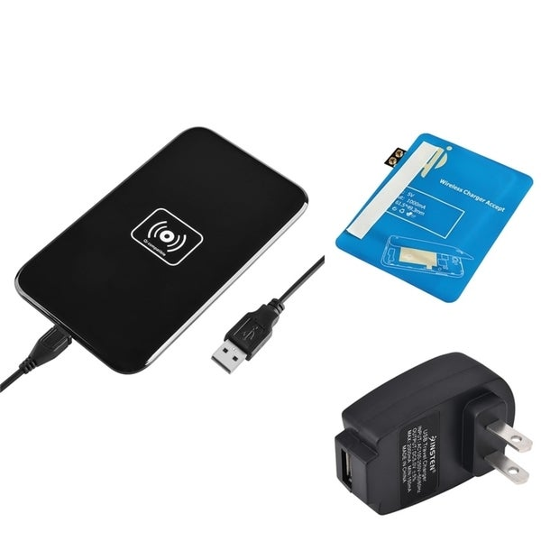 Insten Qi Black Wireless Power Charger Charging Pad With Receiver for Samsung Galaxy S III i9300 S3