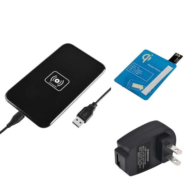 Insten Qi Black Wireless Power Charger Charging Pad With Receiver for Samsung Galaxy S4 i9500