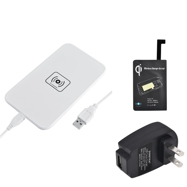 Insten Qi White Wireless Power Charger Charging Pad With Receiver for Samsung Galaxy Note 4