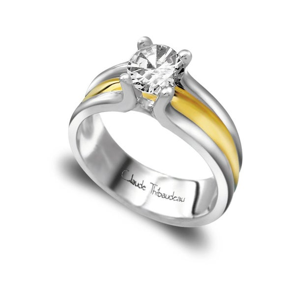 Claude Thibaudeau Platinum Diamond Semi Mount Solitaire Engagement Ring
