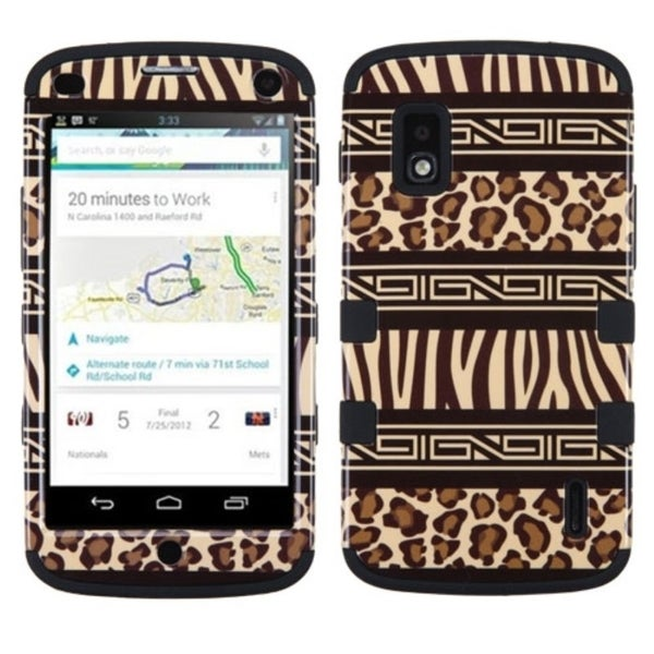 Insten Brown/ Black Zebra Hard PC/ Silicone Dual Layer Hybrid Rubberized Matte Phone Case Cover For LG Google Nexus 4