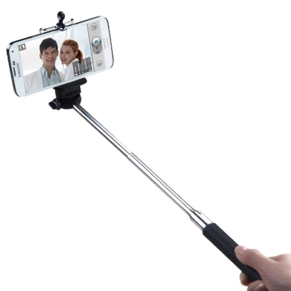 Insten Black Travel Monopod Selfie Stick With Lanyard For Cell Width 52 to 82 mm