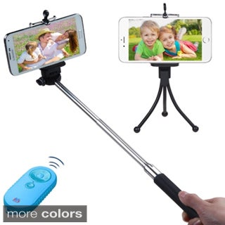 Insten 3-In-1 Black Travel Tripod Monopod Bluetooth Selfie Stick Set With Lanyard