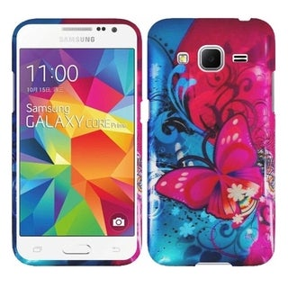 Insten Blue/ Red Butterfly Bliss Hard Snap-on Rubberized Matte Phone Case Cover For Samsung Galaxy Core Prime/ Prevail