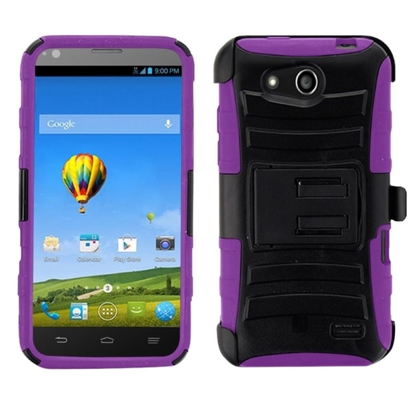 Insten Hard PC/ Soft Silicone Dual Layer Hybrid Phone Case Cover with Holster For ZTE Speed