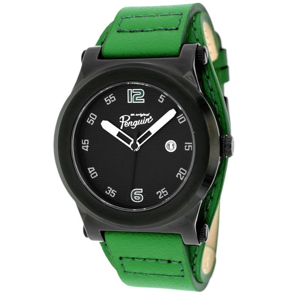 Penguin Men's OP1057BK Daniel Round Green Leather Strap Watch