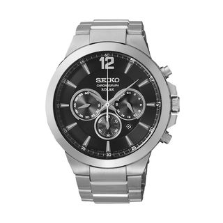 Seiko Men's SSC21 Stainless Steel Solar Chronograph Watch