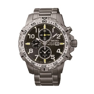 Seiko Men's SSC307 Stainless Steel Solar Alarm Chronograph Watch