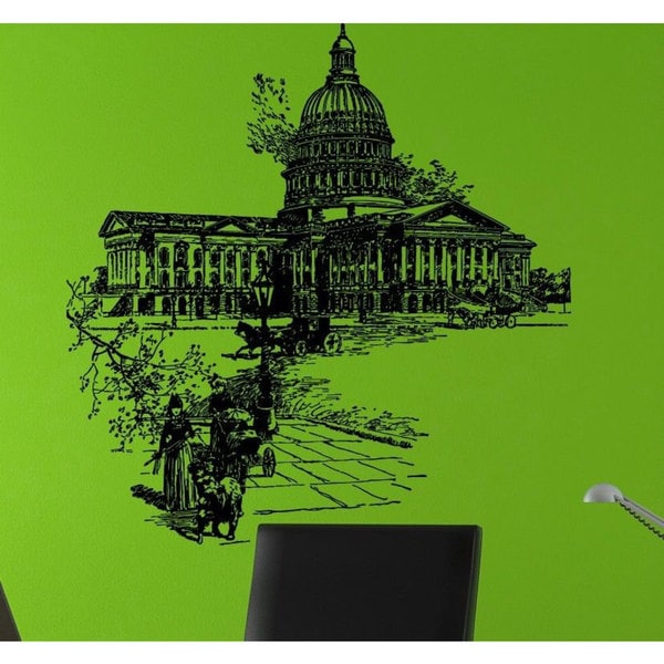 Washington DC Capitol on fire 19th century Vinyl Wall Art