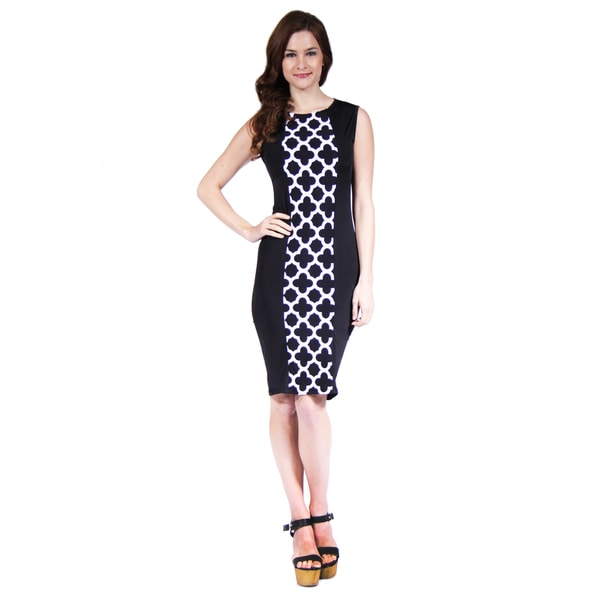 24/7 Comfort Apparel Eyelet Print Sleeveless Sheath Dress