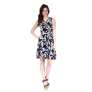 24/7 Comfort Apparel Women's Abstract Neckline Printed Dress