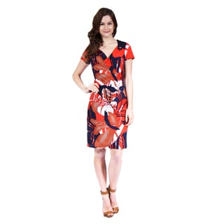 24/7 Comfort Apparel Women's Oriental Print Faux Wrapped Dress