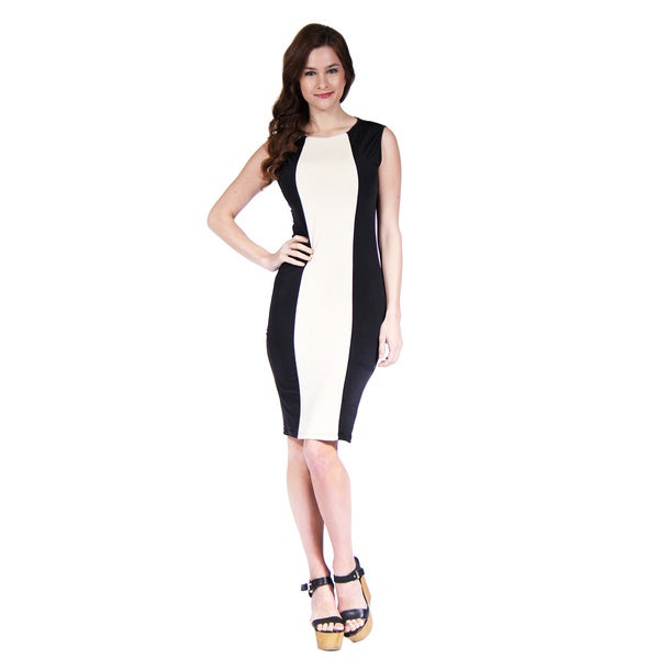 24/7 Comfort Apparel Cream and Black Sleeveless Sheath Dress