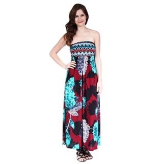 24/7 Comfort Apparel Women's Abstract and Floral Print Maxi Dress