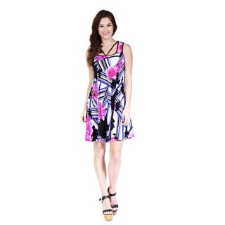 24/7 Comfort Apparel Women's Abstract Neckline Floral Stripe Printed Dress