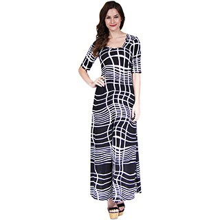 24/7 Comfort Apparel Women's Abstract Printed 3/4 Sleeve Maxi Dress