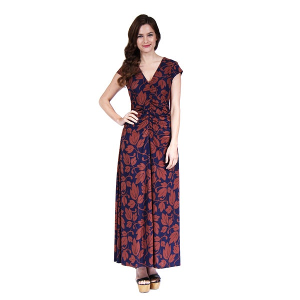 24/7 Comfort Apparel Women's Autumn Leaves Printed Maxi Dress