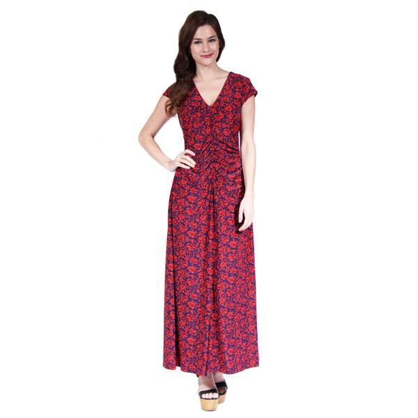24/7 Comfort Apparel Women's Vibrant Floral Print Maxi Dress