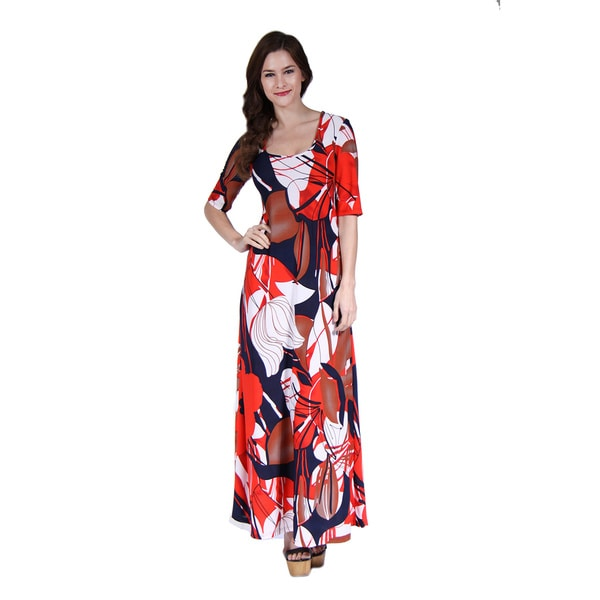 24/7 Comfort Apparel Women's Abstract Floral Print Maxi Dress