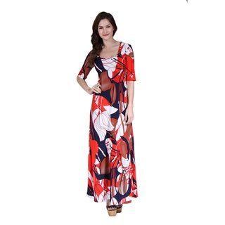 24/7 Comfort Apparel Women's Abstract Floral Print Maxi Dress