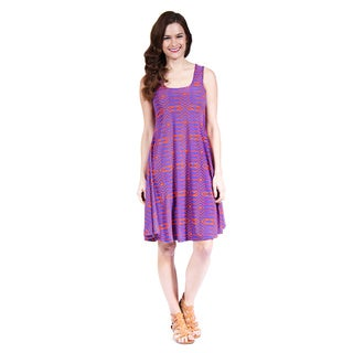 24/7 Comfort Apparel Women's Abstract Blue and Orange Printed Tank Dress