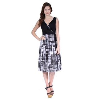 24/7 Comfort Apparel Women's Fold-Over Brush Stroke Dress
