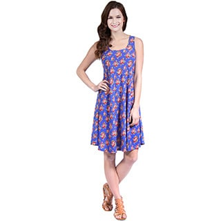 24/7 Comfort Apparel Classic Floral Printed Tank Dress