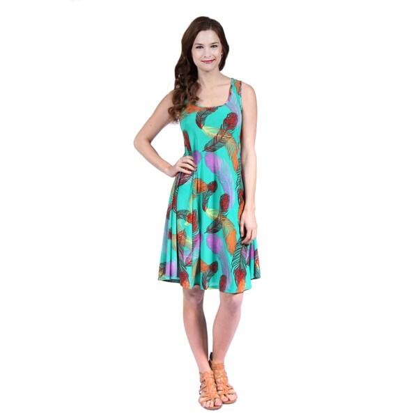 24/7 Comfort Apparel Women's Feather Print Sleeveless Tank Dress