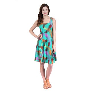 24/7 Comfort Apparel Women's Feather Print Sleeveless Tank Dress