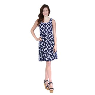 24/7 Comfort Apparel Women's Sleeveless Abstract Printed Tank Dress